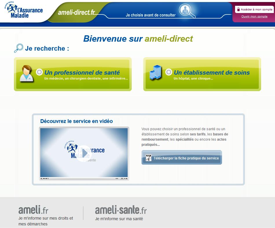 Ameli-direct.fr   Info Santé - Liste Médecins, Etablissements santé 72e5ca5b92c7