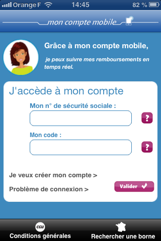 Accueil application ameli (assurance maladie)