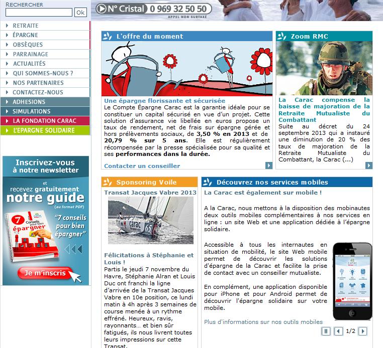 Extrait de la page d'accueil du site carac.fr