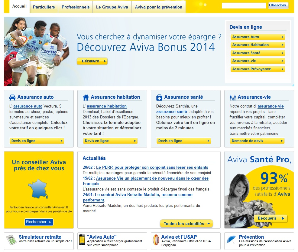 Extrait du site officiel www.aviva.fr