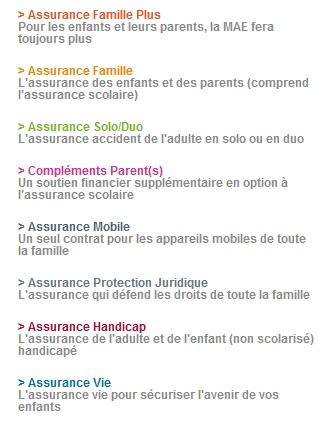 Extrait des assurance MAE  Famille adulte vie quotidienne (cliquez pour accéder)