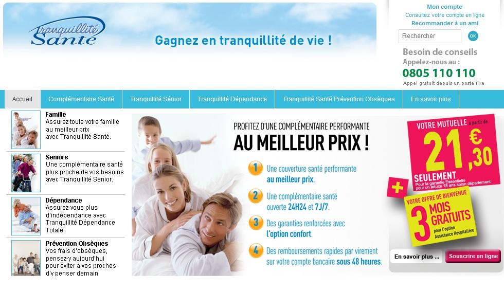 Extrait visuel du site www.tranquilitesante.fr